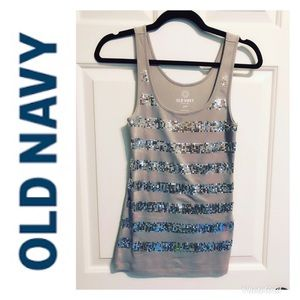 Old Navy gray and silver sequin tank top